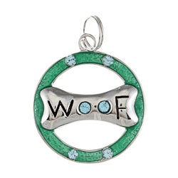 La Preciosa Sterling Silver Blue CZ Dog Bone 'Woof' Circle Charm