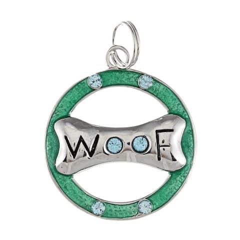 La Preciosa Sterling Silver Blue CZ Dog Bone 'Woof' Circle Charm