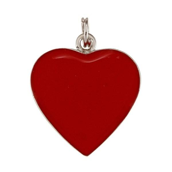 La Preciosa Sterling Silver Red Enamel Heart Charm