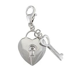 La Preciosa Sterling Silver CZ Heart Lock and Key Charm