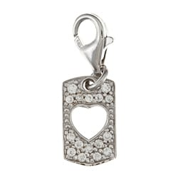 La Preciosa Sterling Silver Reversible CZ Cut-out Heart Charm