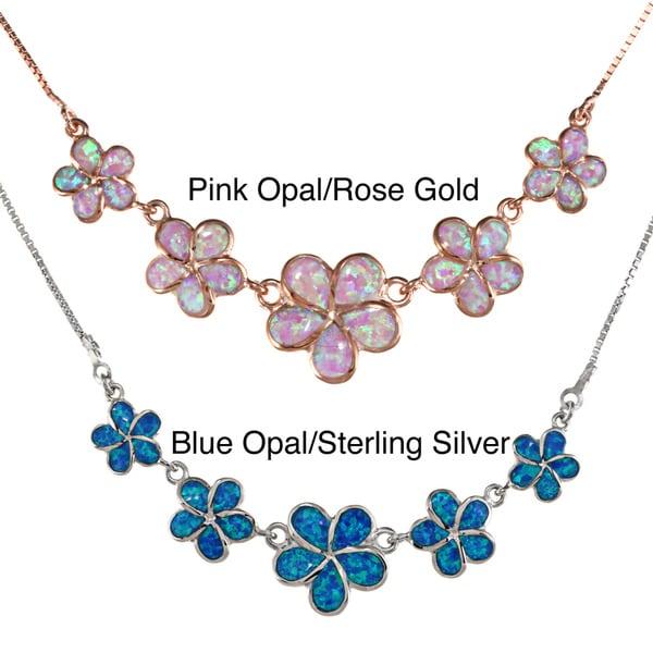 La Preciosa Sterling Silver Created Blue Opal Multiple Flower Necklace