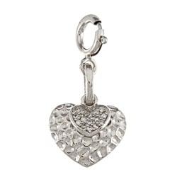 La Preciosa Sterling Silver CZ Hammered Double Heart Charm