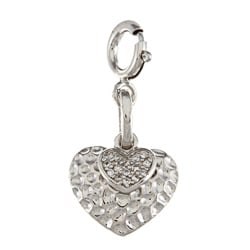 La Preciosa Sterling Silver CZ Hammered Double Heart Charm