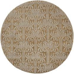 Hand-tufted Brown Lysso New Zealand Wool Rug (8' Round)