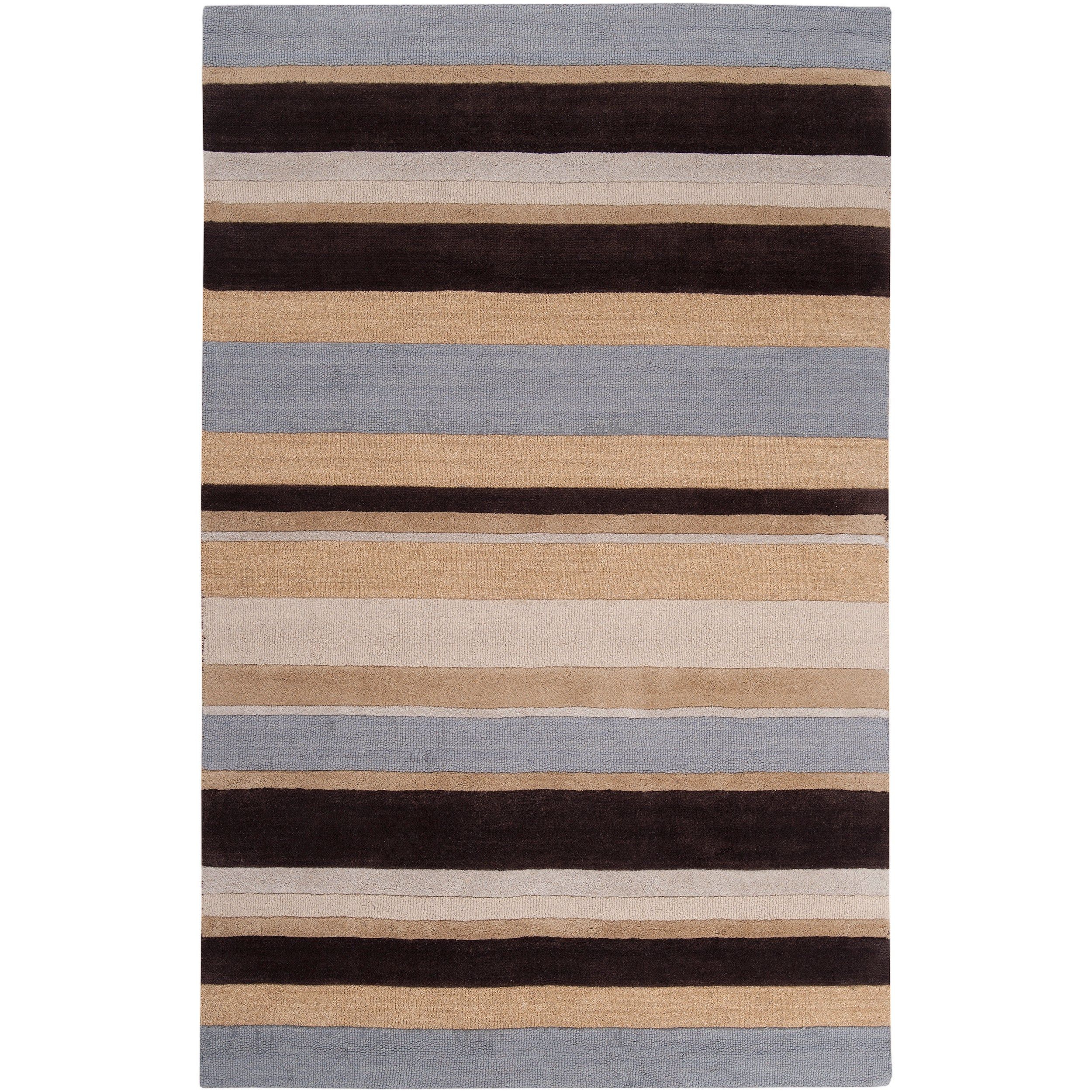 Hand-tufted Brown/Blue Stripe Celery Wool Rug (5' x 8')