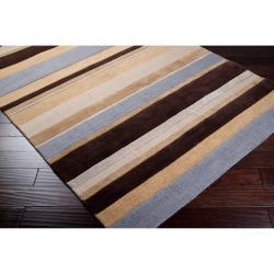 Hand-tufted Brown/Blue Stripe Celery Wool Rug (5' x 8') - Thumbnail 1