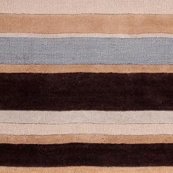Hand-tufted Brown/Blue Stripe Celery Wool Rug (5' x 8') - Thumbnail 2