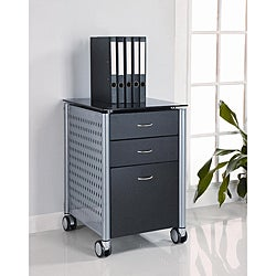 Innovex Black Glass Mobile Filing Cabinet