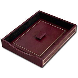 Dacasso Burgundy 24KT Gold Tooled Leather Letter Tray with Lid