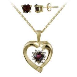 Glitzy Rocks Gold over Silver Garnet and Diamond Accent Jewelry Set