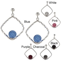 La Preciosa Sterling Silver Crystal Bead Twisted Square Earrings