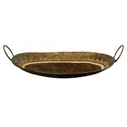 Decorative Embossed Wrought Iron Curved Tray with Loop Handles (India)