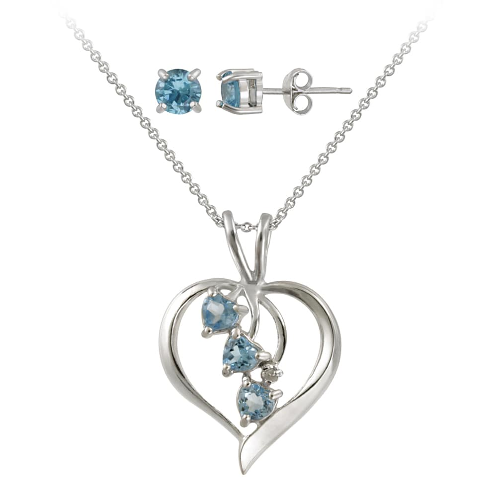 Icz Stonez Sterling Silver Blue CZ and Diamond Accent Jewelry Set