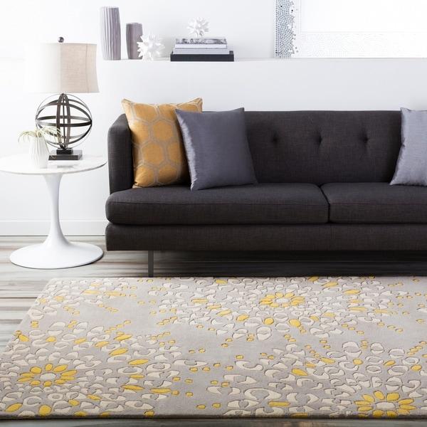 Hand-tufted Contemporary Gray Zandoline New Zealand Wool Abstract Area Rug - 5' x 8'