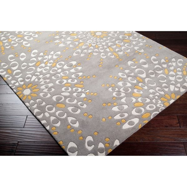 Hand-tufted Contemporary Gray Zandoline New Zealand Wool Abstract Area Rug - 5' x 8'