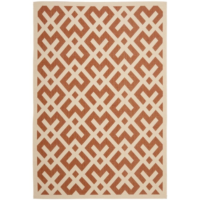 Safavieh Courtyard Contemporary Terracotta/ Bone Indoor/ Outdoor Rug (4' x 5'7)
