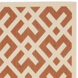Safavieh Courtyard Contemporary Terracotta/ Bone Indoor/ Outdoor Rug (4' x 5'7) - Thumbnail 1