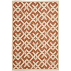Safavieh Courtyard Contemporary Terracotta/ Bone Indoor/ Outdoor Rug (6'7 x 9'6)