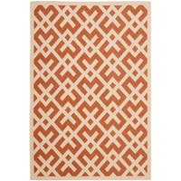 "Safavieh Courtyard Contemporary Terracotta/ Bone Indoor/ Outdoor Rug - 6'7"" x 9'6"""
