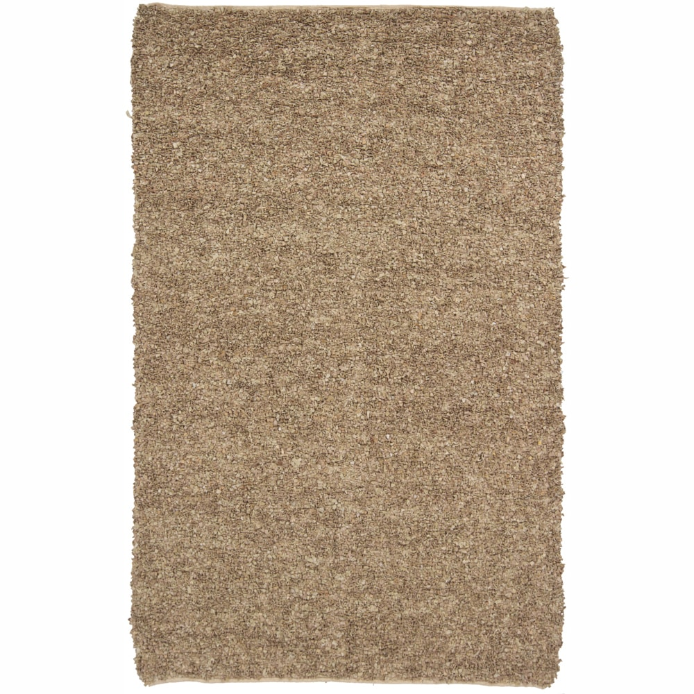 Artist's Loom Hand-woven Natural Eco-friendly Leather Shag Rug (5'x7'6) - 5' x 7'6