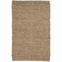 Artist's Loom Hand-woven Natural Eco-friendly Leather Shag Rug (5'x7'6) - 5' x 7'6 - Thumbnail 0