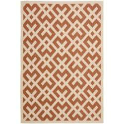 Safavieh Courtyard Contemporary Terracotta/ Bone Indoor/ Outdoor Rug (9' x 12') - Thumbnail 0