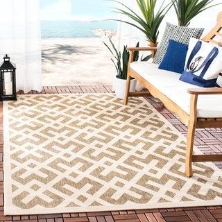 Safavieh Courtyard Contemporary Brown/ Bone Indoor/ Outdoor Rug (4' x 5'7)
