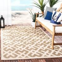 Safavieh Courtyard Contemporary Brown/ Bone Indoor/ Outdoor Rug - 4' x 5'7