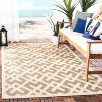 "Safavieh Courtyard Contemporary Brown/ Bone Indoor/ Outdoor Rug - 5'-3"" x 7'-7"""
