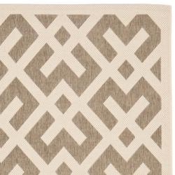 Safavieh Courtyard Contemporary Brown/ Bone Indoor/ Outdoor Rug (6'7 x 9'6) - Thumbnail 1