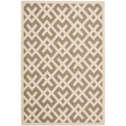 Safavieh Courtyard Contemporary Brown/ Bone Indoor/ Outdoor Rug (6'7 x 9'6)
