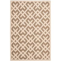 "Safavieh Courtyard Contemporary Brown/ Bone Indoor/ Outdoor Rug - 6'7"" x 9'6"""