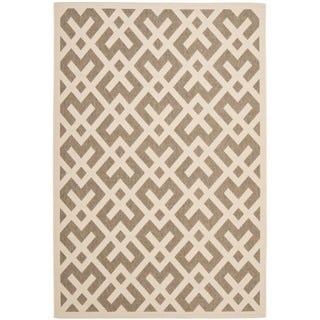 Safavieh Courtyard Contemporary Brown/ Bone Indoor/ Outdoor Rug (9' x 12')