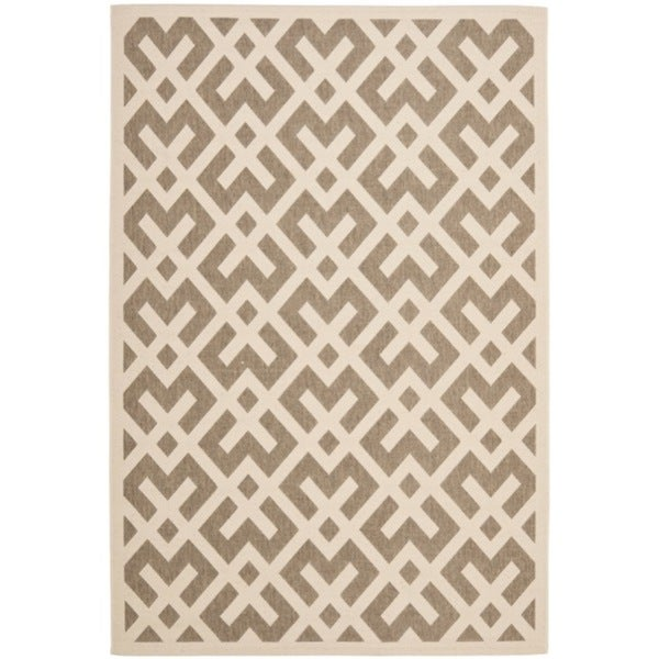Safavieh Courtyard Contemporary Brown/ Bone Indoor/ Outdoor Rug - 9' x 12'