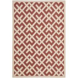 """Safavieh Poolside Red/Bone Indoor/Outdoor Polypropylene Rug (6'7"""" x 9'6"""")"""