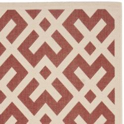 "Safavieh Courtyard Contemporary Red/ Bone Indoor/ Outdoor Rug (8' x 11'2"") - Thumbnail 1"