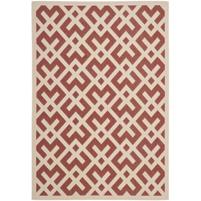 Safavieh Courtyard Contemporary Red/ Bone Indoor/ Outdoor Rug (9' x 12') - Thumbnail 0