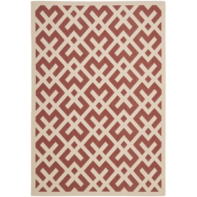 Safavieh Courtyard Contemporary Red/ Bone Indoor/ Outdoor Rug - 9' x 12'