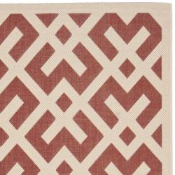 Safavieh Courtyard Contemporary Red/ Bone Indoor/ Outdoor Rug (9' x 12') - Thumbnail 1