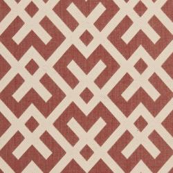 Safavieh Courtyard Contemporary Red/ Bone Indoor/ Outdoor Rug (9' x 12') - Thumbnail 2
