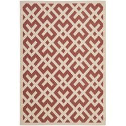 Safavieh Courtyard Contemporary Red/ Bone Indoor/ Outdoor Rug - 9' x 12' - Thumbnail 0