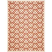 Safavieh Courtyard Contemporary Red/ Bone Indoor/ Outdoor Rug - 9' x 12'