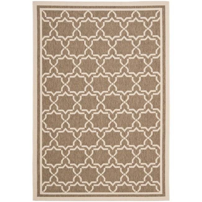 Safavieh Courtyard Poolside Brown/ Bone Indoor/ Outdoor Rug (8' x 11'2)