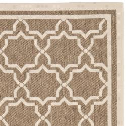 Safavieh Courtyard Poolside Brown/ Bone Indoor/ Outdoor Rug (8' x 11'2) - Thumbnail 1