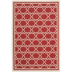 Safavieh Poolside Red/ Bone Indoor Outdoor Rug - 8' x 11'2 - Thumbnail 0