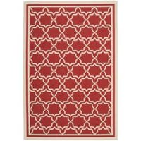 Safavieh Poolside Red/ Bone Indoor Outdoor Rug - 8' x 11'2