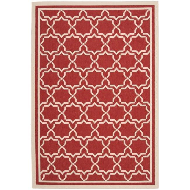 Safavieh Poolside Red/ Bone Indoor/ Outdoor Area Rug (9' x 12')