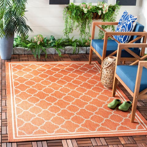 Safavieh Courtyard Kailani Terracotta/ Bone Indoor/ Outdoor Rug - 4' x 5'7""
