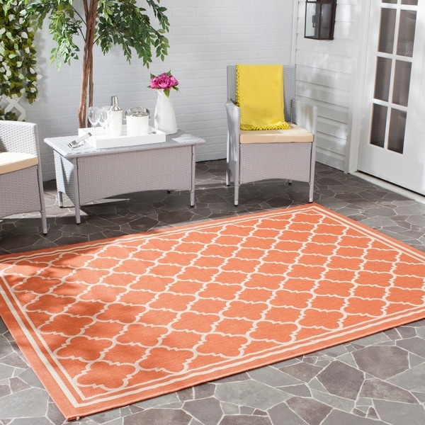 "Safavieh Poolside Terracotta/ Bone Indoor/ Outdoor Area Rug - 6'7"" x 9'6"""